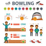 Bowling infographic elements isolated on white background. People play bowling and knock strike, split, spare, down Royalty Free Stock Image