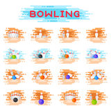 Bowling kegling ball and skittles ninepins crashing game combinations kegling vector illustration. Sport game strike play hobby equipment Royalty Free Stock Photos