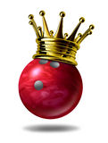 Bowling king champion. Symbol represented by a golden crown on a red plastic marble bowling ball for bowlers representing the winning of a tournament or game at Royalty Free Stock Photography