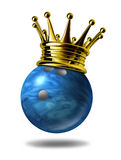 Bowling king champion with gold crown. Bowling king champion symbol represented by a golden crown on a blue plastic marble bowling ball for bowlers representing Stock Images