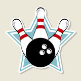Bowling label. Over star background vector illustration Royalty Free Stock Photography