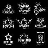 Bowling Labels, Logos Design Elements and Icons Set. Royalty Free Stock Photo