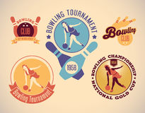 Bowling labels. Set of vintage styled bowling labels. Editable vector illustration Royalty Free Stock Photography