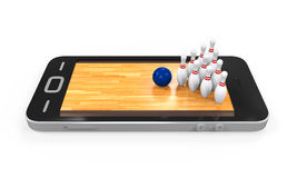Bowling Lane in Mobile Phone Stock Photo