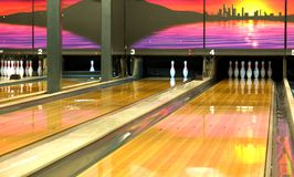 Bowling Lanes. View of the bowling rolling lanes at a local club royalty free stock photos