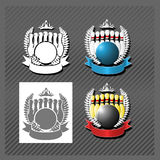 Bowling League. Bowling blank emblem with ball and skittles Stock Photography