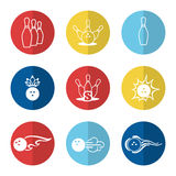Bowling line icons set Stock Photo