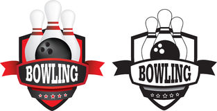 Bowling logo or badge, shield or branding Royalty Free Stock Images