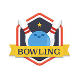 Bowling logo,design template, emblem tournament template. Skittles and ball with ribbons. Stock Photo