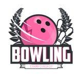 Bowling logo design template, emblem tournament. Stock Image