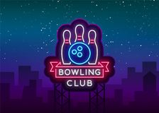 Bowling logo vector. Neon sign, symbol, bright banner advertising bright night bowling, luminous neon billboard. Design. A template for the Bowling Club logo Royalty Free Stock Photography