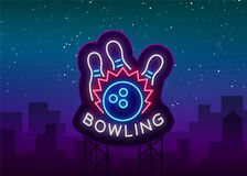 Bowling logo vector. Neon sign, symbol, bright banner advertising bright night bowling, luminous neon billboard. Design. A template for the Bowling Club logo Stock Image
