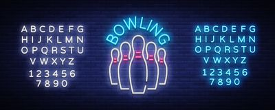 Bowling logo vector. Neon sign, symbol, bright banner advertising bright night bowling, luminous neon billboard. Design. Template for the Bowling Club logo Royalty Free Stock Photo