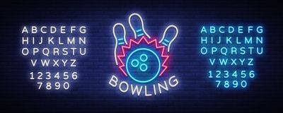 Bowling logo vector. Neon sign, symbol, bright banner advertising bright night bowling, luminous neon billboard. Design. Template for the Bowling Club logo Stock Photo