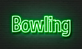 Bowling neon sign Stock Photography