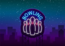 Bowling is a neon sign. Symbol emblem, Neon style logo, Luminous advertising banner, Night bright luminous billboard. Design template for the Bowling Club Stock Image
