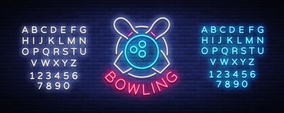 Bowling is a neon sign. Symbol emblem, Neon style logo, Luminous advertising banner, bright billboard, Design template. For the Bowling Club, Tournaments Stock Photo
