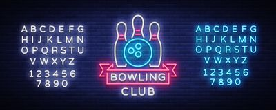 Bowling is a neon sign. Symbol emblem, Neon style logo, Luminous advertising banner, bright billboard, Design template. For the Bowling Club, Tournaments Royalty Free Stock Photos