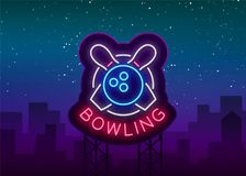 Bowling is a neon sign. Symbol emblem, Neon style logo, Luminous advertising banner, Night bright luminous billboard. Design template for the Bowling Club Royalty Free Stock Images