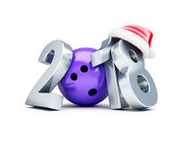 Bowling 2018 new year santa hat on a white background 3D illustration, 3D rendering Royalty Free Stock Images