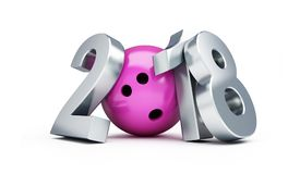Bowling 2018 new year on a white background 3D illustration, 3D rendering Royalty Free Stock Photos