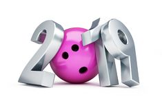Bowling 2019 new year on a white background 3D illustration, 3D rendering Royalty Free Stock Photo