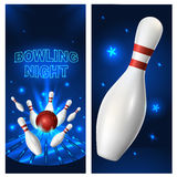 Bowling night flyer template. Vector clip art illustration Royalty Free Stock Photography