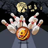 Bowling night on Halloween. On the street Royalty Free Stock Photography