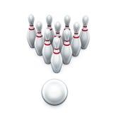 Bowling ninepins. 3D rendering, bowling, ninepins and ball Royalty Free Stock Photo