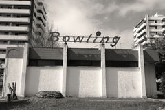 Bowling. Old building with a bowling sign Stock Image