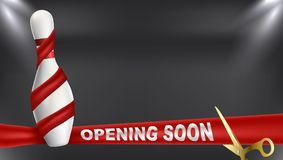 Bowling opening soon red ribbon. Vector clip art illustration. Stock Photo