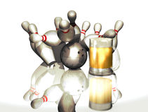 Bowling party. Bowling ball hitting ten pins, making a strike, at the background of a beer mug Stock Photography