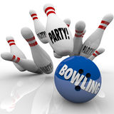 Bowling Party Ball Strikes Pins Fun Event Celebration Stock Images