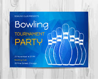 Bowling party invitation card. Sport tournament flyer. Stock Images