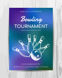 Bowling party invitation card. Sport tournament flyer. Royalty Free Stock Photography