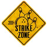 Bowling Party Zone. Bowling Party Strike Zone Logo Art Metal Sign Retro Tin Rusted Embossed Bowlers Pizza Fun royalty free stock images