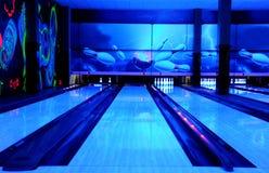 Bowling paths. Blue lighting. Bowling club Royalty Free Stock Image