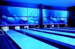 Bowling paths. Blue lighting. Bowling club Stock Image