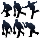 Bowling people silhouettes stock illustration