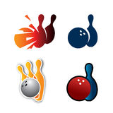 Bowling Pin. Bowling elements such as pins and balls on different illustration styles Stock Photo