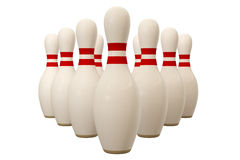 Bowling Pin. Isolated over a white background. This is a 3D rendered picture Royalty Free Stock Photo