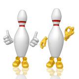 Bowling pin 3d mascot figure. Illustration Royalty Free Stock Photo