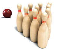 Bowling pin and ball Stock Images