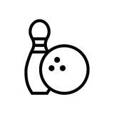 Bowling pin and ball icon. Bowling pin and ball over white background. vector illustration Royalty Free Stock Images