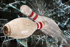 Bowling Pin Breaking Glass. Stock Images