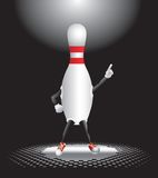 Bowling pin character under spotlight Royalty Free Stock Photo