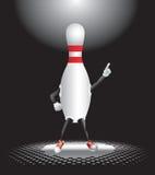 Bowling pin character under spotlight Royalty Free Stock Photo