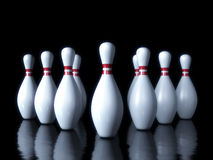 Bowling pin on the dark background. 3d illustration Stock Photo
