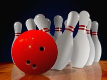 Bowling Pin Down Stock Images