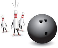 Bowling pin massacre. Picture of bowling pin cartoon characters acting scared of a bowling ball Stock Photos